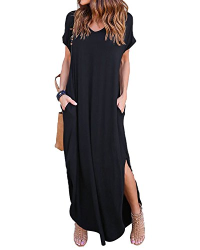 Celmia Womens Casual Dresses Side Slit V Neck Short Sleeve Solid Maxi Long Dress Black XL