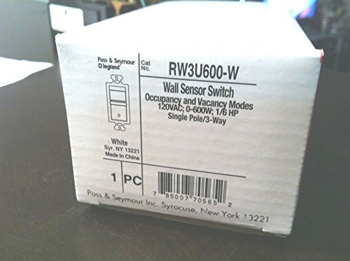 P&S RW3U600-W PASS & SEYMOUR WALL SENSOR SWITCH 120V 600W...