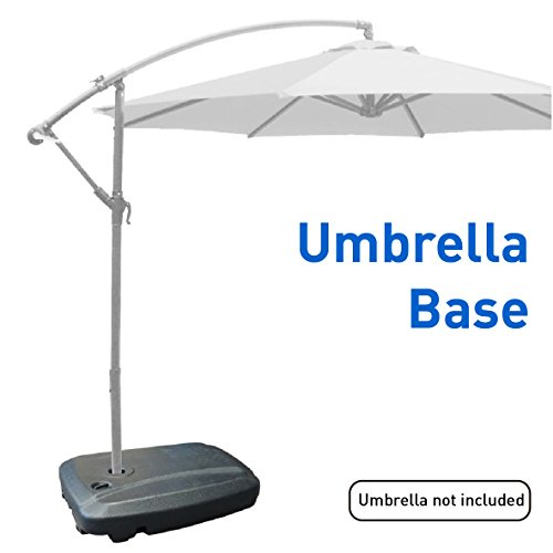 EasyGoProducts Universal Offset Umbrella Base Weight Capacity - Plastic Weighted Stand - Fill with Water or Sand, Black, 60 L