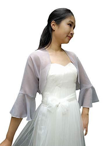 YuRongsxt Jacket Shawl Chiffon Bolero 3/4 Bell Sleeve Shrug Prom wrap Bridal Sheer Cover up C11 (Silver, M)