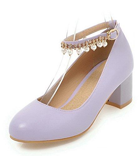 VogueZone009 Buckle Round Kitten Soild Pumps Toe Women's Heels Purple Shoes ArCEq4Aw