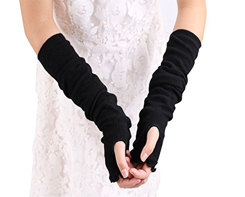 Sleeve Arm Warmers - Lotus Leaf Edge Style Fingerless Elastic Stretch Arm Gloves Winter Warmer Cotton Long Arm Sleeve for Ladies Women Girl (Black)