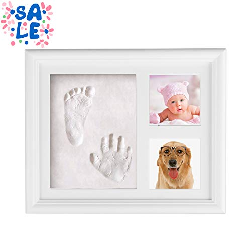- Kithouse Baby Handprint Kit Baby Picture Frame Baby Footprint kit Newborn Decorations Favors for Girls and Boys - Also Using for Pet Dog Cat Paw Prints Photo Frame Kit, White