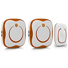 Wireless Lightning Doorbell,Glodeals Operating at over 900-feet Range with Over 36 Chimes, No Batteries Required for Receiver,Home House Cordless Portable Kit Push Button and Receiver (1 in 2, Orange)