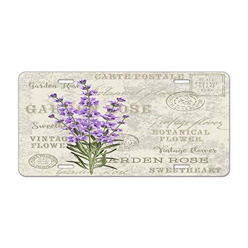 Mugod Lavender Flowers Aluminum License Plate Vintage Lavender Elegant Postcard Background Template for Wedding Invitation Decorative Car License Plate Cover with 4 Holes Car Tags 6