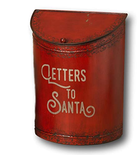 Santa Box Hinged (Gerson Rustic Vintage Style Metal Christmas Holiday Letters for Santa Mailbox with Hinged Lid (Large 16