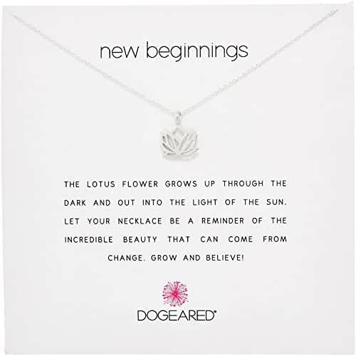Dogeared Reminder New Beginnings Sterling Silver Rising Lotus Pendant Necklace, 16