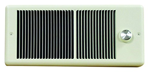 TPI E4375TRPW Series 4300 Low Profile Fan Forced Wall Heater with Wall Box, Standard Model, Single Pole Inbuilt Thermostat, 750 W, 6.25 Amps, White