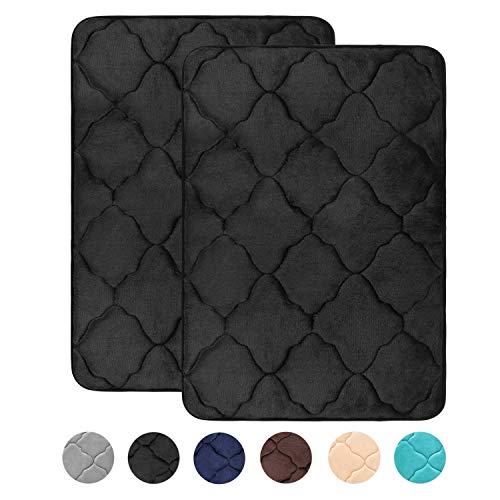 HAOCOO Memory Foam Bath Mat 2 Pack Set 20x31 inch Thick Non Slip Bathroom Rugs Absorbent Moroccan Soft Velvet Bath Rug Machine Washable Door Carpet for Shower, Bedroom, Black (Mat Memory Bath Foam)