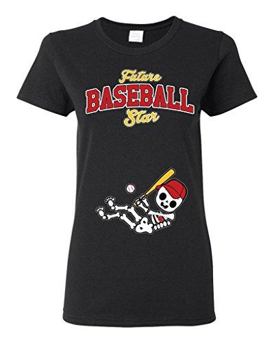 Future Baseball Star St. Louis Baby Fan Sports Ball Ladies DT T-Shirt Tee (XXX-Large, Black)