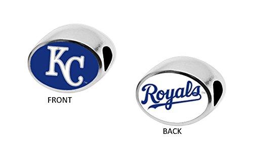 Kansas City Royals Charm - Kansas City Royals 2-Sided Bead Fits Most Bracelet Lines Including Pandora, Chamilia, Troll, Biagi, Zable, Kera, Personality, Reflections, Silverado and More Charm Bead Fits Pandora Style Bracelets