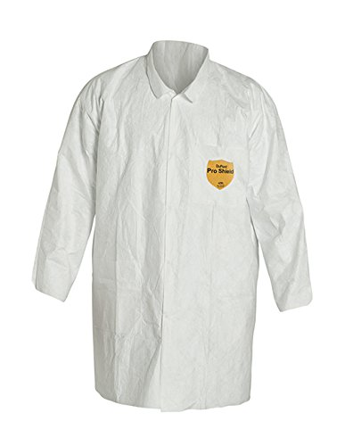 Dupont TY212SWHSM003000 Tyvek Lab Coat with Collar, Open Wrists, Front Snap Closure, 2 Pockets, Serged Seams, Small, White (Pack of 30)