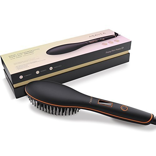 AsaVea Hair Straightener Brush with built in premium anion generator,lighter and smaller, good for using at home or travelling (BLACK)