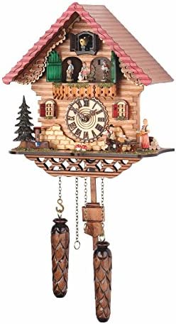 Trenkle Quartz Cuckoo Clock Black Forest House with Music, Turning Dancers TU 474 QMT HZZG