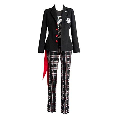 Ya-cos Persona 5 Dancing Star Night Joker Protagonist Akira Kurusu Cosplay Costume Suit Black]()