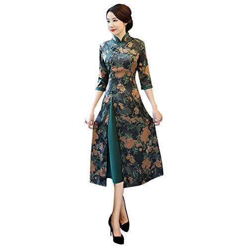 Hzjundasi Imprimé Vintage Costume Vert Cocktail Élégant Foncé Chinois 222 Femme Traditionnel Cheongsam Qipao De Robe Floral 0zwT0Srq