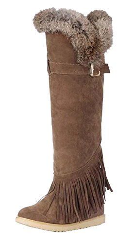 Brown rabbit Light winter edge boots boots knee tassel new boots boots and snow Fall YwqAgg