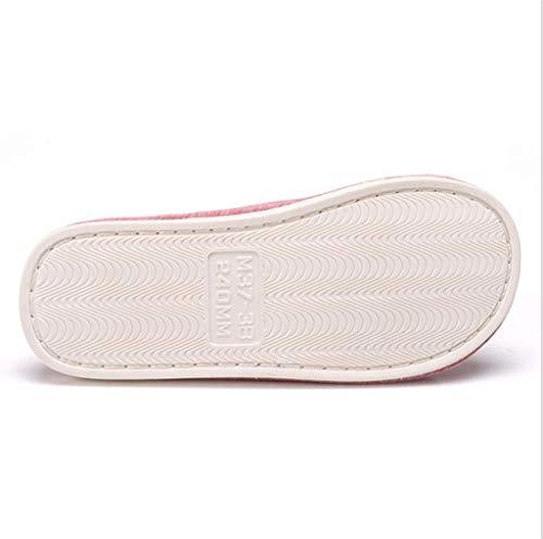 Absorbant Violet Yingsssq Taille 37 36 Pantoufles Transpiration La En Coton coloré Antidérapantes Rose qAgAIF