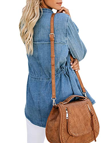 Haloumoning Womens Casual Denim Coat Open Front LooseEmpire Waist Stand Collar Trench Outwear by Haloumoning (Image #3)