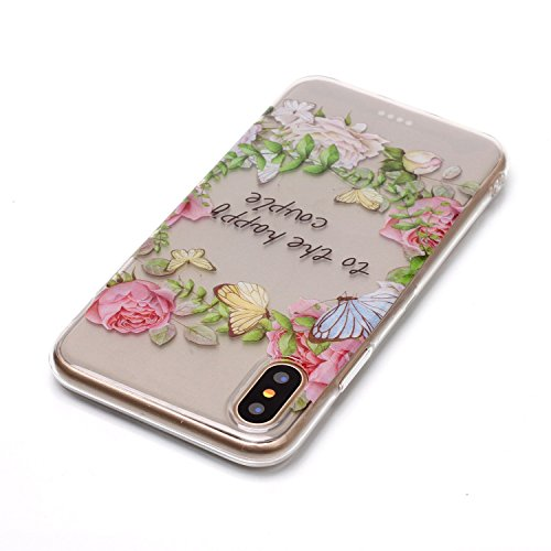 iPhone X Hülle, Modisch to the happy couple Transparent TPU Silikon Schutz Handy Hülle Handytasche HandyHülle Etui Schale Schutzhülle Case Cover für Apple iPhone X