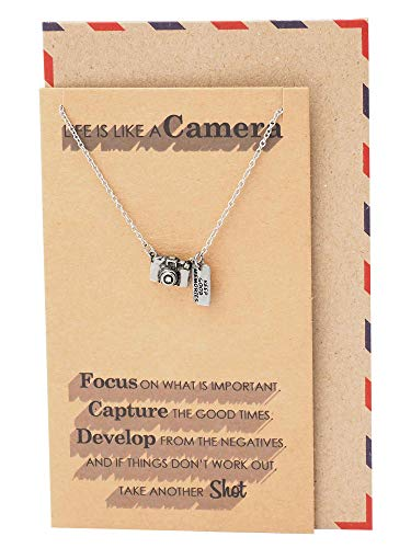 Quan Jewelry Cute Camera Miniature Pendant Necklace for Women, Photography Gifts, Gifts for Best Friends, Selfie Lovers, Comes with Inspirational - Necklace Pendant Camera