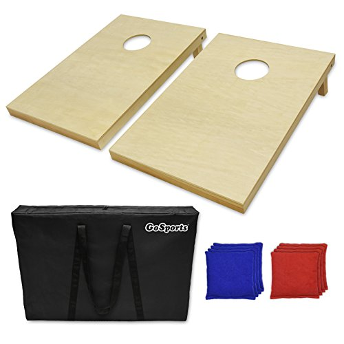 [GoSports Tailgate Size Wooden Cornhole Set, Wood/Natural] (Halloween Bean Bag Toss)