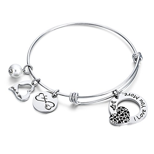 Love Heart Charm Bangle Bracelet I Love You More Jewelry Gift for Women Girls