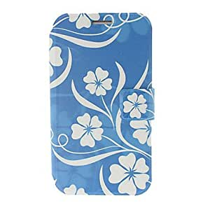 Small Fresh Florals Blue Leather Case with Stand for Samsung Galaxy Note 2 N7100