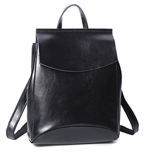 HopeEye mujer Tendencias de la moda Cuero Mochila Bolsa de mano Bolso de Crossbody Cuero Elegante (Earthy Yellow) 1-negro