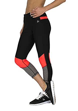 RBX Active womens Color Block Capri,Black / Coral Combo,Medium