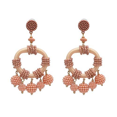 MONISE- Jewelry Rice Beads Beaded Chandelier Dangle Drop Earrings for Women Girls,Handmade Beaded Earrings Bohemian Statement Drop Bead Earrings with Hypoallergenic Steel Post (G) (White Gold Cz Leverback Earrings)
