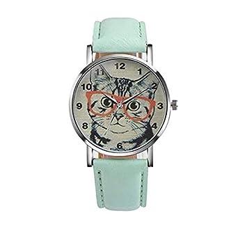 mujeres Relojes, moeavan Mujer Reloj, de Mujer nette Gatos de diseño de reloj de piel sintética de banda de analógico de cuarzo de moda reloj de pulsera: ...