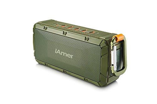 Bluetooth Speakers, iAmer 10W Waterproof IPX6 Outdoor Sports Wireless Portable Speaker with 2 x 5W Drivers Enhanced Bass, Bluetooth 4.0/ Built-In Microphone (Army Green) (Bluetooth Speakers)