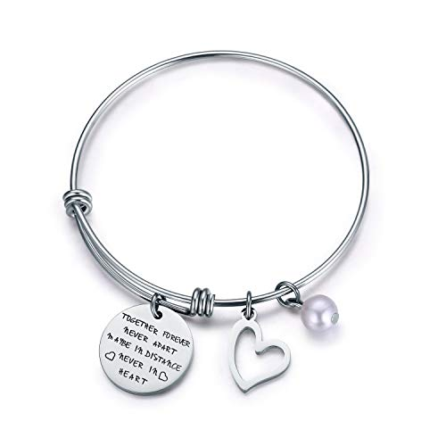 Jvvsci Together Forever Never Apart Maybe in Distance Never in Heart Bracelet,Long Distance Relationship Bangle, Sisters Best Friends BFF Personalized Anniversary - Forever Together Rings