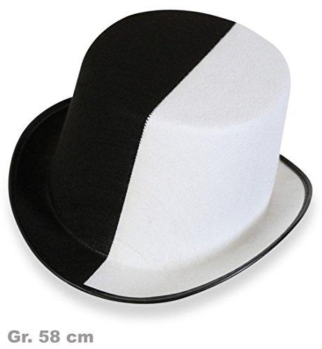 Zylinder Hut Schwarz Weiss Black White Gr 58 Cm Erwachsene Unisex