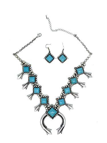 Jayde N' Grey Turquoise Squash Blossom Navajo Bohemian Womens Southwestern Statement Choker Necklace & Earrings Bundle: Set & Jewelry Bag (Turquoise Turq) ()
