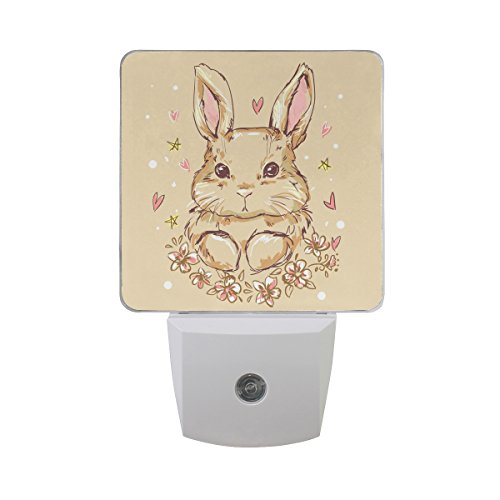(Naanle Set of 2 Cute Bunny Rabbit with Heart Star Floral Flower On Beige Auto Sensor LED Dusk to Dawn Night Light Plug in Indoor for Adults)