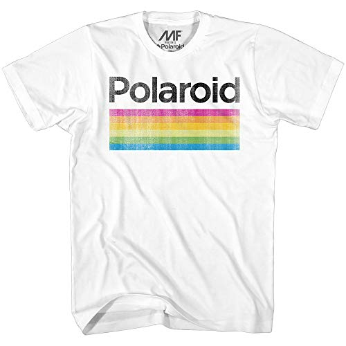 Mad Engine Men's Classic Polaroid Logo Vintage Style Rainbow T-Shirt, White, Medium (Newton Isaac S)