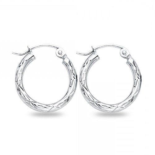 Small Round Hoop Earings Solid 14k White Gold Diamond Cut Polished Finish Genuine Classic 15 x 2 mm -  GemApex