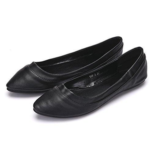 Fereshte Femmes Confort Faux Cuir Bout Pointu Flat Pump Ballet Chaussures No.260 Noir