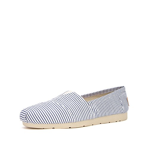 Profunda Frescas Profunda A Boca Dhg Casuales Pequeña De Sandalias Dama Damas Zapatos azul Primavera 37 Rayas Lona 1w76w