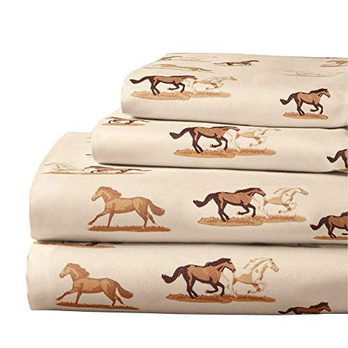 Printed Dashing Horses Sheet Set - Bedsheet, Pillowcases - Machine Washable