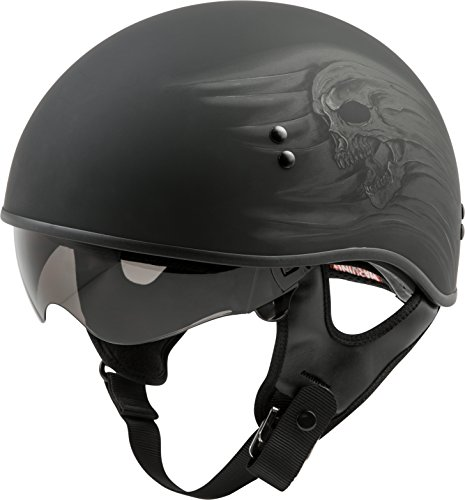 (GMAX GM65 Adult Ritual Naked Half-Face Motorcycle Helmet - Matte Black/Medium )