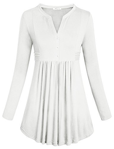 SeSe Code Tunic for Women, Ladies Long Sleeve Concise Mandarin Collar Stretchy Knit Cotton Shirts Pleated Button Flare Hem Empire Waist Comfy Slim Tops White Medium