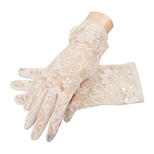 (MoonEver Women's Short Elegant Lace Gloves Touch Screen No-Slip Summer Gloves)