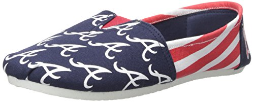 Atlanta Braves Women's MLB Slip On Canvas Stripe Shoe Slippers