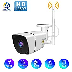 Wireless 1080P Outdoor WiFi Security Camera,JOOAN 2MP HD IP Home Surveillance Camera System with Super Night Vision,Motion Detection,Waterproof for Indoor Outdoor Bullet Camera Baby Pet Monitor