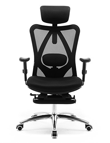 Sihoo Ergonomics Office Chair Recliner Chair,Computer Chair Desk Chair, Adjustable Headrests Chair Backrest and Armrest's Mesh Chair (Black) (Best Office Chair To Sit Cross Legged)