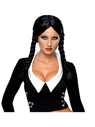 Secret Wishes  Costume The Addams Family Deluxe Wednesday Wig, Black, One Size