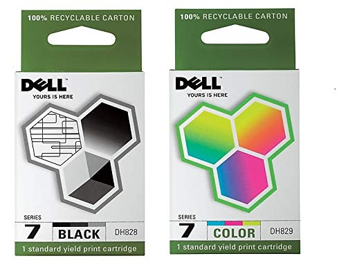 2 Pack Dell Series 7 Ink Cartridge Combo DH828 DH829 (1 Black 1 Color) All-In-One Printer Genuine Dell Ink Cartridges